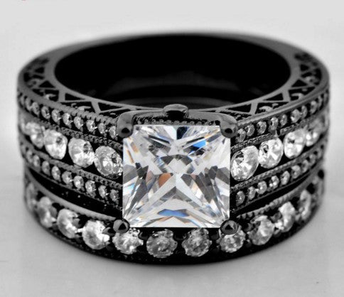 White Sapphire Antique Jewelry Wedding Ring Set