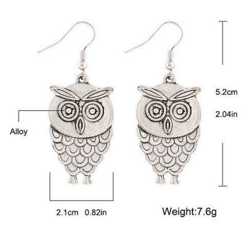 Unique Bohemian Owl Festival Gift Stud Earrings