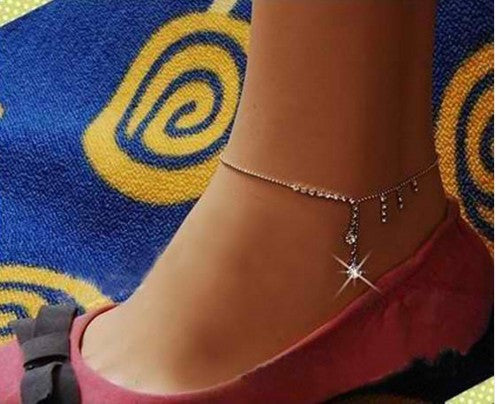 Crystal Drop Edging Tassel Anklets
