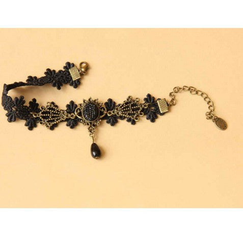 Black Lace Knitting Flower Rhinestone Pendants Anklet