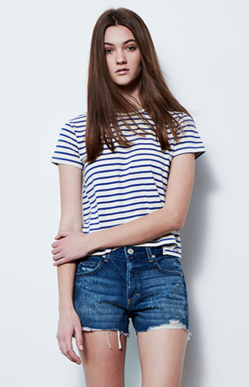 AMO White and Blue Striped Sailor Twist Tee