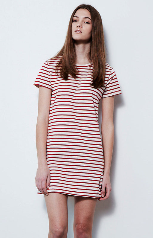 AMO Red and White Stripe Sailor Twist Tee Shirt Dress