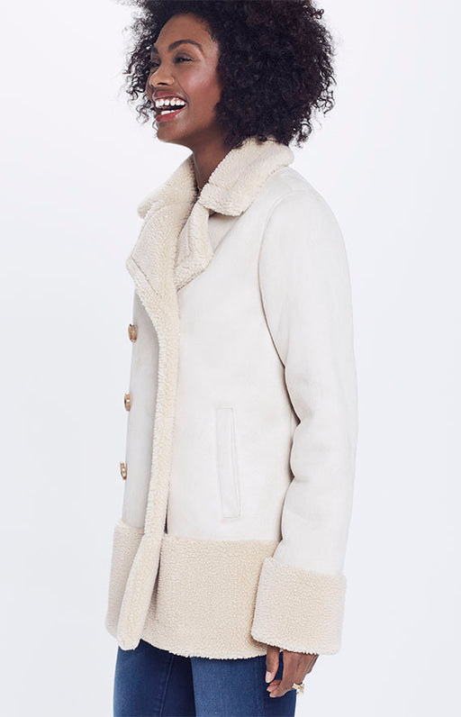 Mother Faux Shearling Double Breasted Sherpa Jacket in Cream
