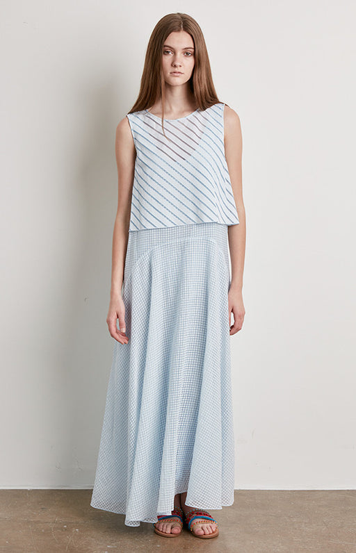 BECKEN Light Blue and White Checkered Print Layered Elipse Maxi Dress