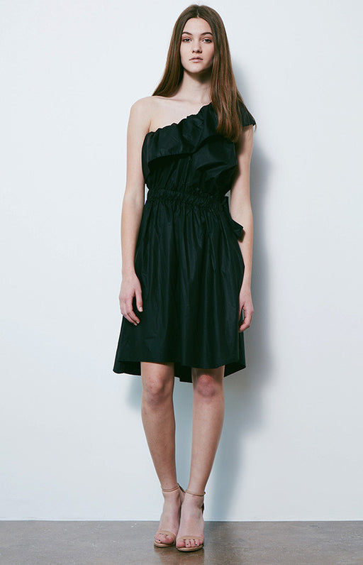 DESIGNERS REMIX Black Cotton Luca One Shoulder Dress With Cinched Tie Waist