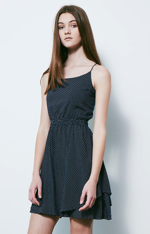DESIGNERS REMIX Navy and White Rion Dot Spaghetti Strap Open Tie Back Dress