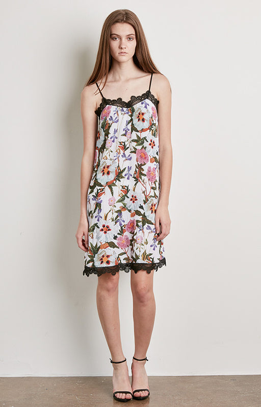 DELFI Pleated White Floral Print Slip Alicia Dress With Black Lace