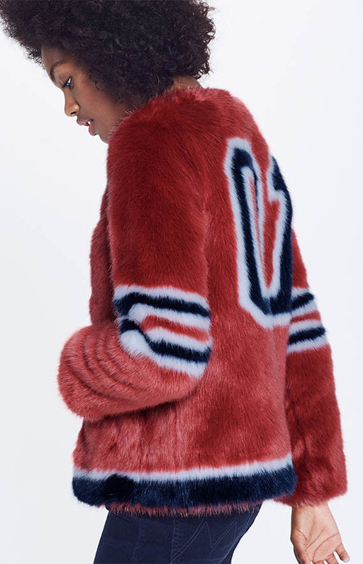 Mother Red Hot Faux Fur Daredevil's Run Long Boxy Jacket