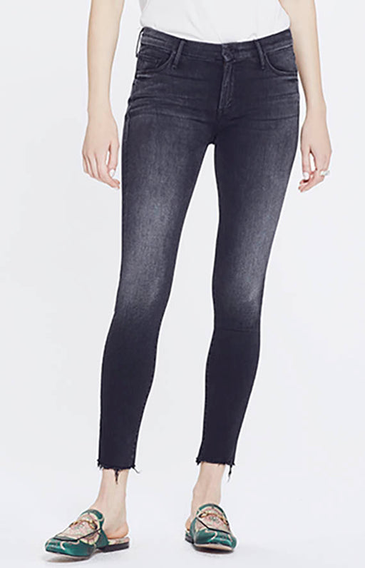 Mother Looker Ankle Fray Mid Rise Skinny Jean in Night Hawk