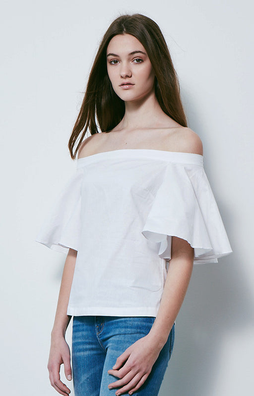 MLM LABEL White Cotton Highlight Off The Shoulder Top