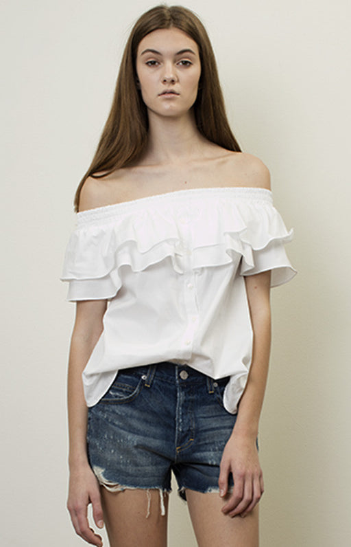 PETERSYN White Skye Off The Shoulder Ruffle Top