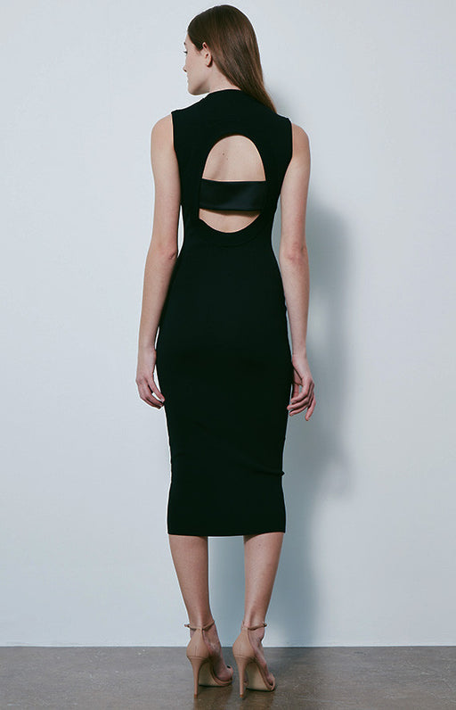 SOLACE LONDON Black Fitted High Neck Alexis Midi Dress With Back Cut Out