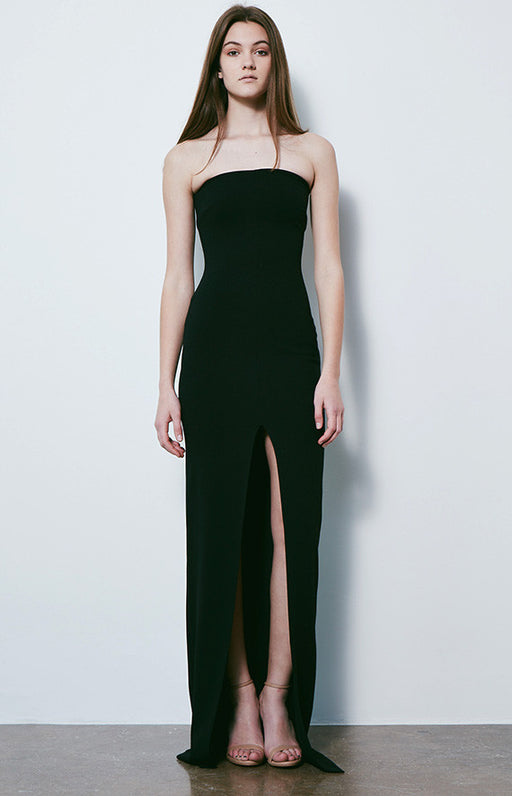 SOLACE LONDON Black Bysha Strapless Gown WIth Front Slit