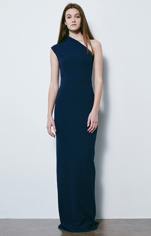 SOLACE LONDON Navy One Shoulder Luna Gown With Back Slit
