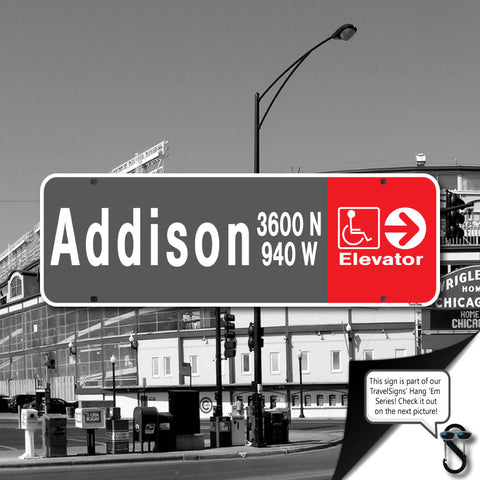 Addison L Stop Wrigley Street Sign
