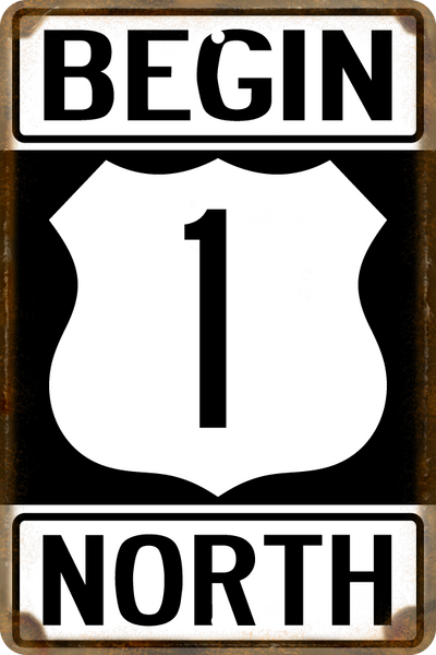 Florida US 1 Begin North Highway Sign