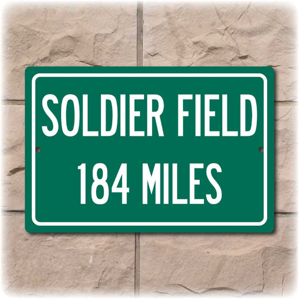 Personalized Highway Distance Sign To: Soldier Field, Home of the Chicago Bears