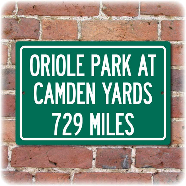 Personalized Highway Distance Sign To: Oriole Park at Camden Yards, Home of the Balitomore Orioles