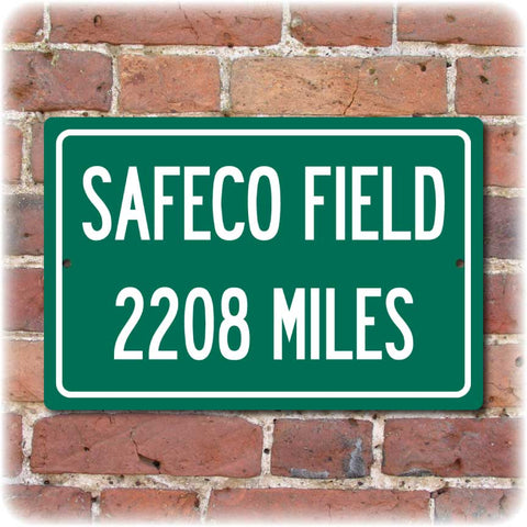 Personalized Highway Distance Sign To: SAFECO Field, Home of the Seattle Mariners
