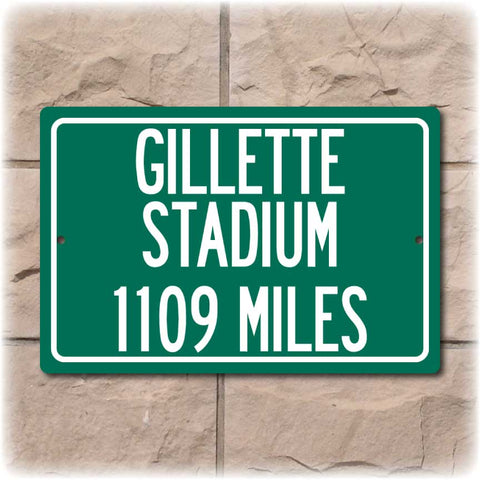 Personalized Highway Distance Sign To: Gillette Stadium, Home of the New England Patriots