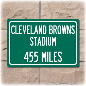 Personalized Highway Distance Sign To: Cleveland Browns Stadium, Home of the Cleveland Browns