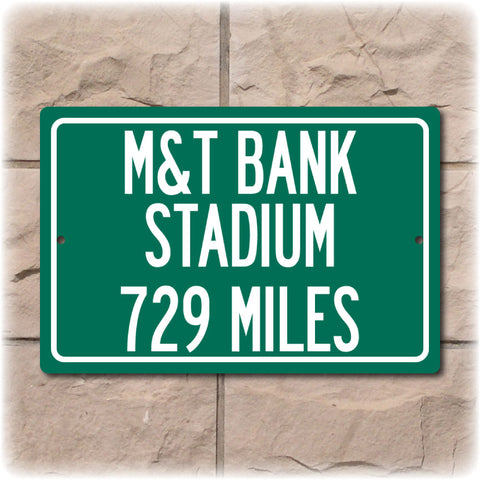 Personalized Highway Distance Sign To: M&T Bank Stadium, Home of the Baltimore Ravens