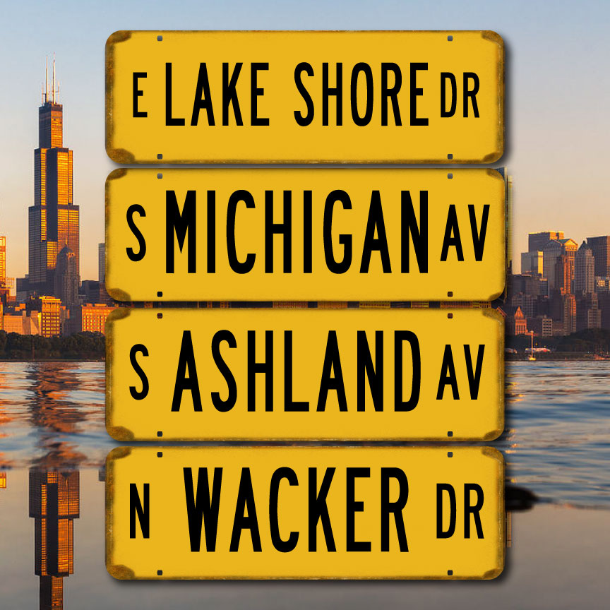Vintage Chicago Street Signs