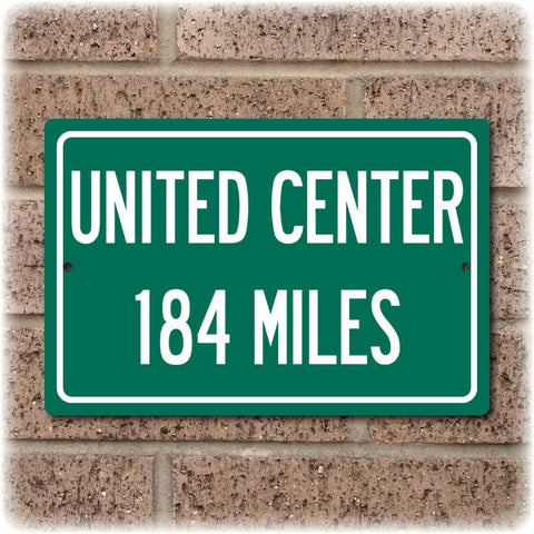 Personalized Highway Distance Sign To: United Center, Home of the Chicago Bulls & Blackhawks