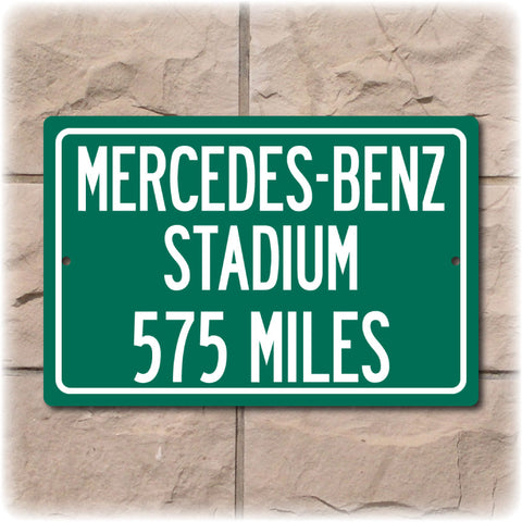 Personalized Highway Distance Sign To: Mercedes-Benz Stadium, New Home of the Atlanta Falcons