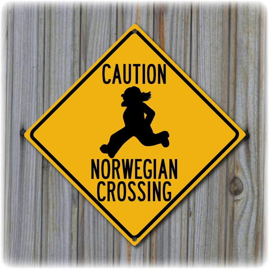 Norwegian Crossing Highway Sign