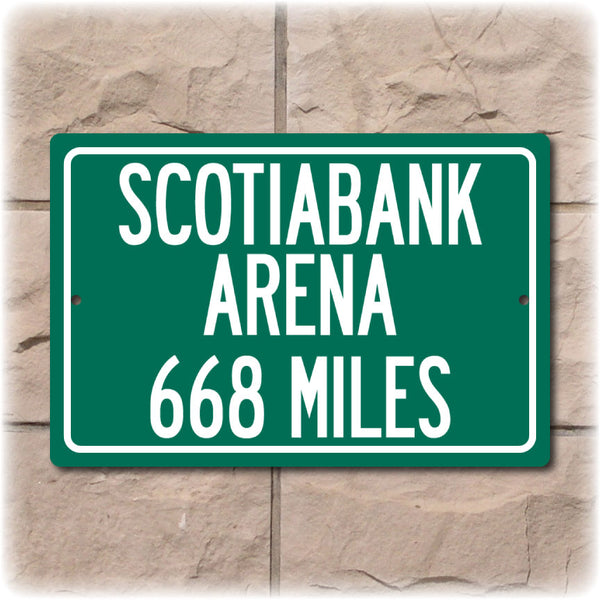 Personalized Highway Distance Sign To: Scotiabank Arena, Home of the Toronto Raptors & Maple Leafs
