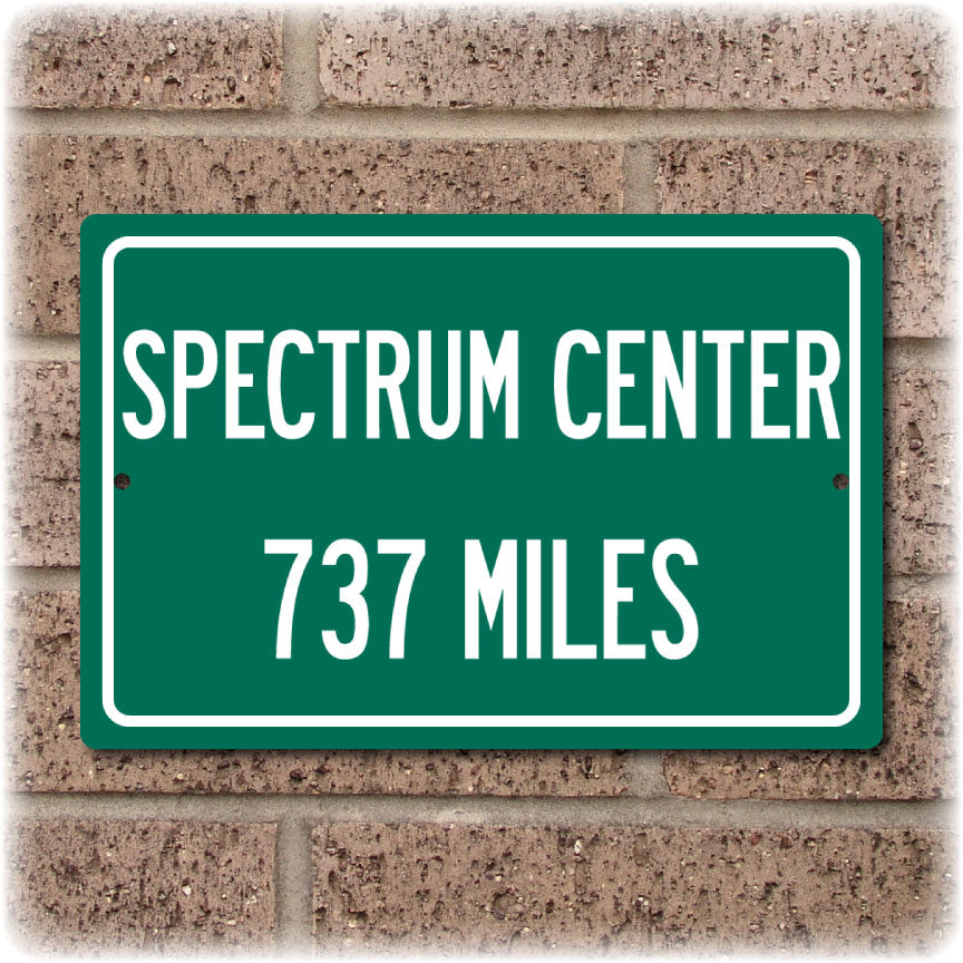 Personalized Highway Distance Sign To: Spectrum Center, Home of the Charlotte Hornets