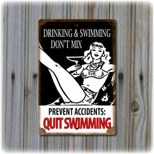 Drinking & Swimming Funny Pool Sign