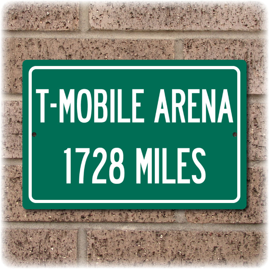 908042d1 Personalized Highway Distance Sign To: T-Mobile Arena, Home of the Vegas  Golden Knights
