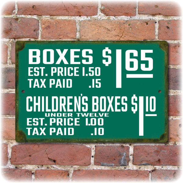 Wrigley Field Vintage Ticket Prices Sign