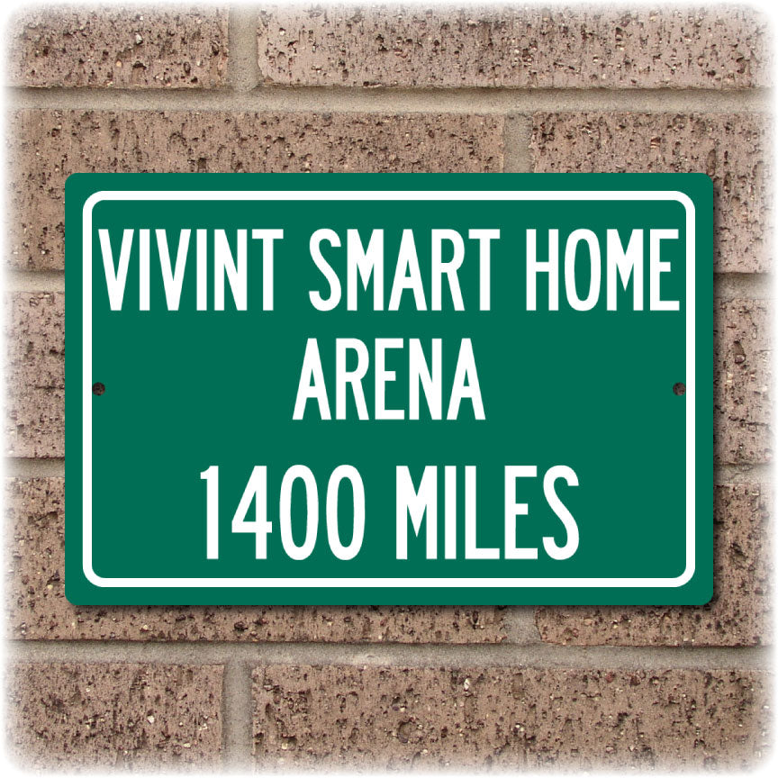 Personalized Highway Distance Sign To: Vivint Smart Home Arena, Home of the Utah Jazz
