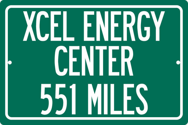 Personalized Highway Distance Sign To: Xcel Energy Center, Home of the Minnesota Wild