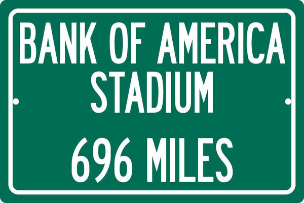 Personalized Highway Distance Sign To: Bank of America Stadium, Home of the Carolina Panthers