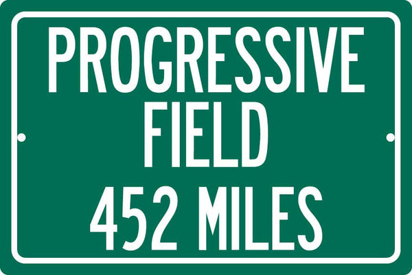 Personalized Highway Distance Sign To: Progressive Field, Home of the Cleveland Indians
