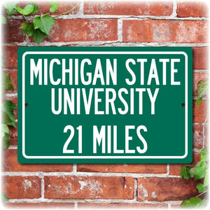 Personalized University Highway Distance Sign - Michigan State