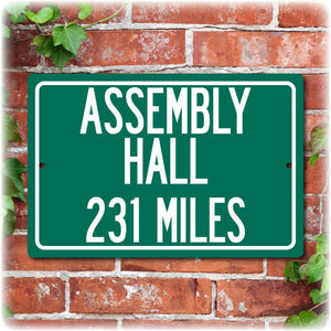 Personalized University Highway Distance Sign - IU Assembly Hall
