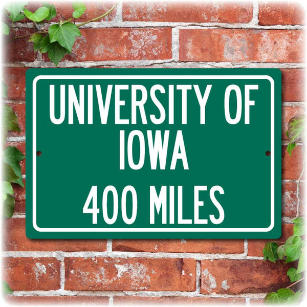 Personalized University Highway Distance Sign - Iowa