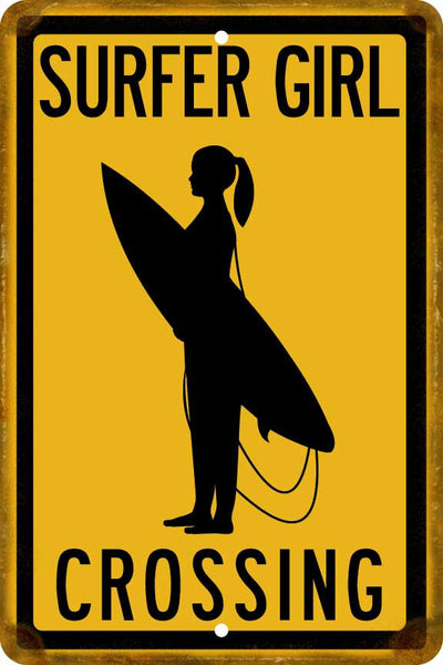 Surfer Girl Crossing Sign