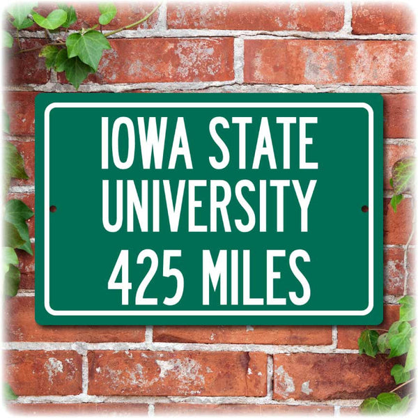 Personalized University Highway Distance Sign - Iowa State