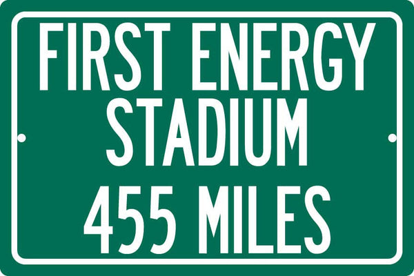 Personalized Highway Distance Sign To: FirstEnergy Stadium, Home of the Cleveland Browns