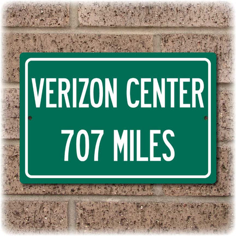 Personalized Highway Distance Sign To: Verizon Center, Home of the Washington Wizards & Capitals