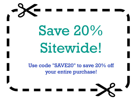 "Save 20% Sitewide with code ""SAVE20"""