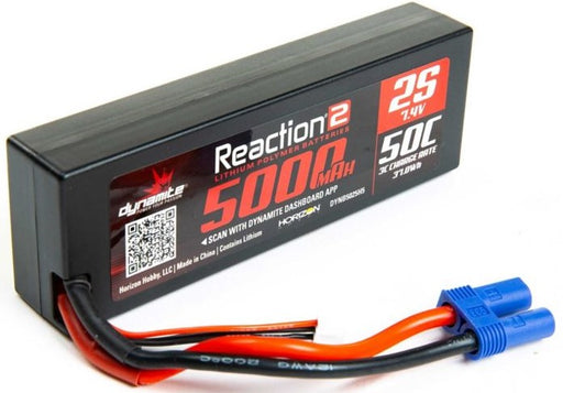 DYNB5025H5 7.4V 5000mAh 2S 50C Reaction 2.0 Hardcase LiPo Battery: EC5
