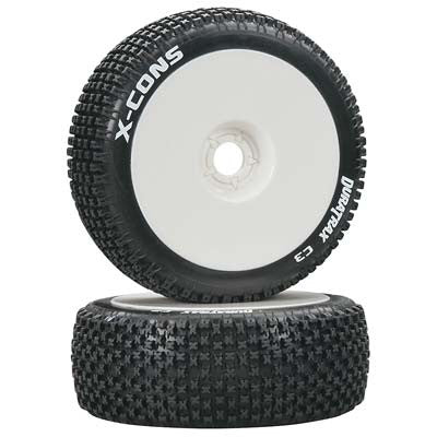 DTXC3611 X-Cons 1/8 Buggy Tire C3 Mounted White (2)