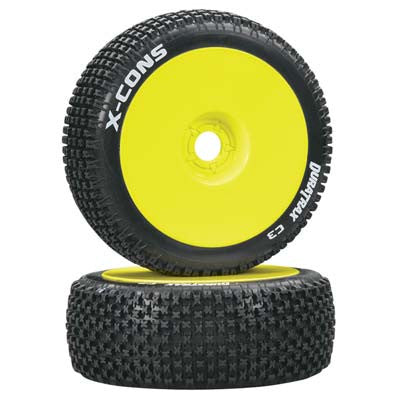 DTXC3613 X-Cons 1/8 Buggy Tire C3 Mounted Yellow (2)